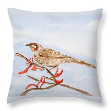 Honeyeater Coming Home Throw Pillow by Elvira Ingram