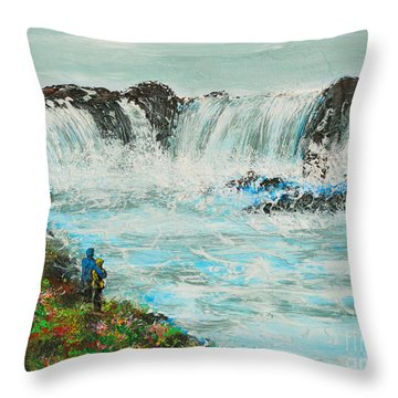 Honeymoon At Godafoss Throw Pillow