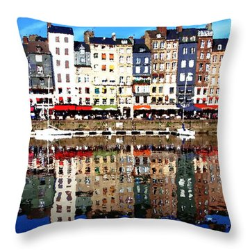 Throw Pillow featuring the photograph Long Horizontal Abstract - Honfleur Artists Village  by Jacqueline M Lewis