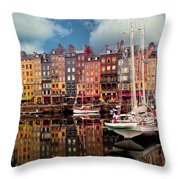 Honfleur Harbor Throw Pillow