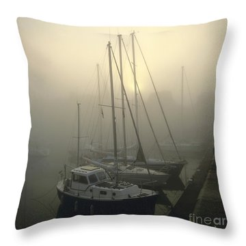 Honfleur Harbour In Fog. Calvados. Normandy Throw Pillow