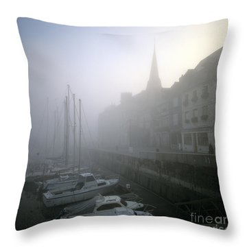 Honfleur Harbour In Fog. Calvados. Normandy. France. Europe Throw Pillow