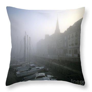Honfleur Harbour In Fog. Calvados. Normandy. France. Europe Throw Pillow by Bernard Jaubert