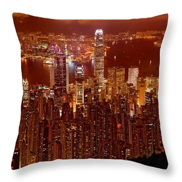 Hong Kong In Golden Brown Throw Pillow