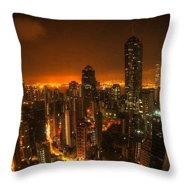 Hong Kong Gotham Throw Pillow