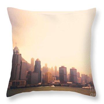 Hong Kong Harbour Sunset Throw Pillow by Pixel  Chimp