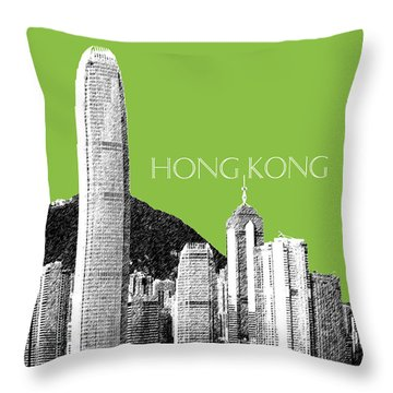 Hong Kong Skyline 1 - Olive Throw Pillow by DB Artist