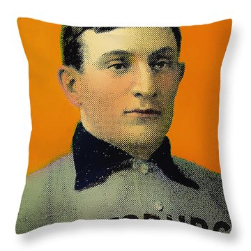 Honus Wagner Baseball Card 0838 Throw Pillow