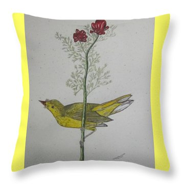 Hooded Warbler Throw Pillow by Kathy Marrs Chandler