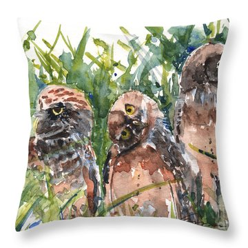 Hoohoo's On First Burrowing Owls Throw Pillow