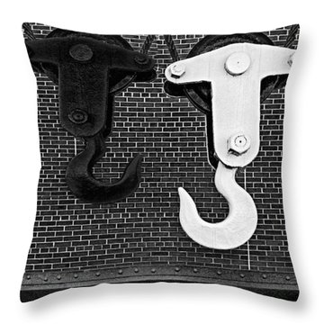 Hook Me Up Bw Throw Pillow by Susan Candelario