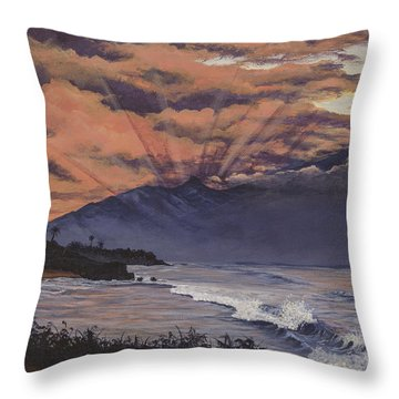 Throw Pillow featuring the painting Hookipa Sunset by Darice Machel McGuire