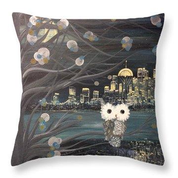 Hoolandia - Hoo's City 02 Throw Pillow