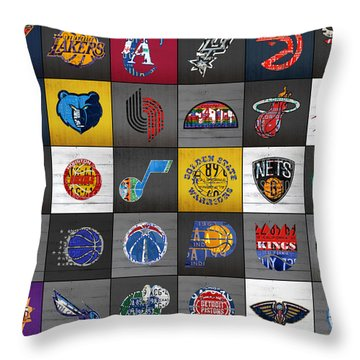 Hoop It Up Recycled Vintage Basketball League Team Logos License Plate Art Throw Pillow