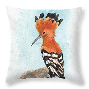 Hoopoe Throw Pillow