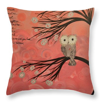 Hoo's Who Care - Find The Cure - Support Breast Cancer Awareness - Hoolandia #383 Throw Pillow