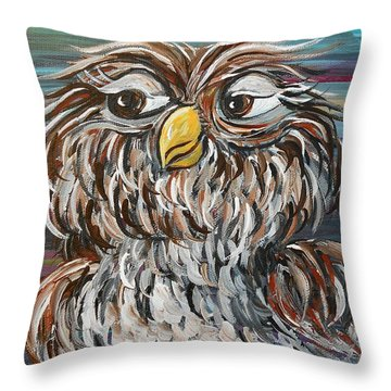 Hoo's Your Daddy Throw Pillow by Eloise Schneider