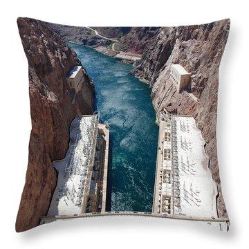 Hoover Dam Black Canyon Throw Pillow by John Schneider