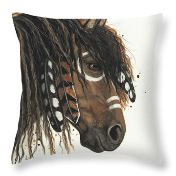 Hopa Majestic Mustang Series 47 Throw Pillow by AmyLyn Bihrle