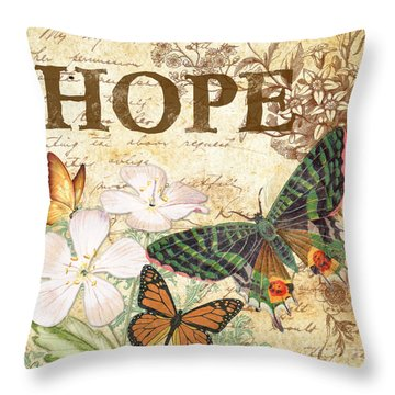 Hope And Butterflies Throw Pillow by Jean Plout