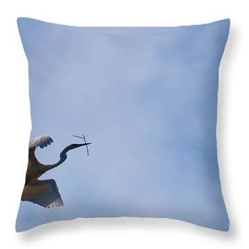 Hopeful Egret Building A Home  Throw Pillow
