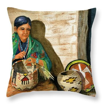 Hopi Basket Weaver Throw Pillow by Marilyn Smith