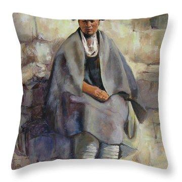 Hopi Girl Seated Throw Pillow