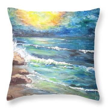 Throw Pillow featuring the painting Horizons by Cheryl Pettigrew