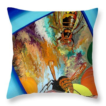 Throw Pillow featuring the painting Hornets by Daniel Janda