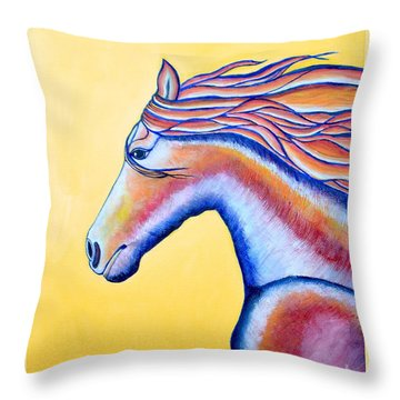 Throw Pillow featuring the painting Horse 1 by Joseph J Stevens