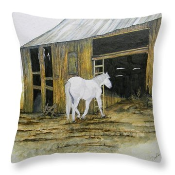 Horse And Barn Throw Pillow by Bertie Edwards