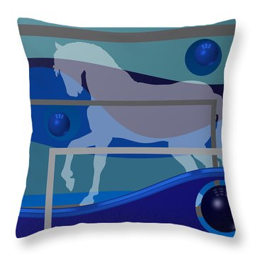 Horse And Blue Balls Throw Pillow