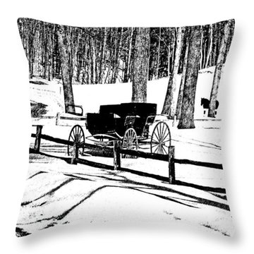 Throw Pillow featuring the photograph Horse And Buggy - No Work Today A Black And White Abstract by Janice Adomeit
