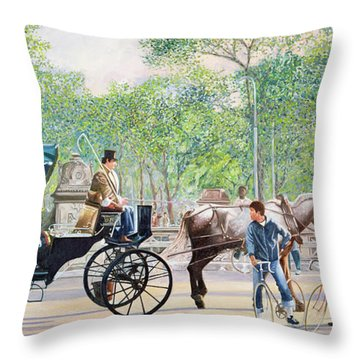 Horse And Carriage Throw Pillow by Anthony Butera