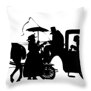 Throw Pillow featuring the digital art Horse And Carriage Silhouette by Rose Santuci-Sofranko