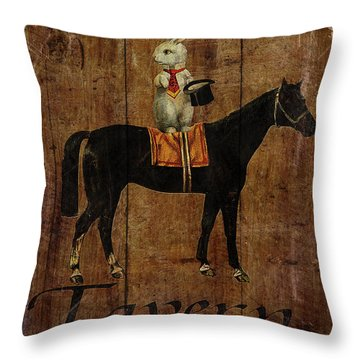 Horse And Hare Pub Throw Pillow