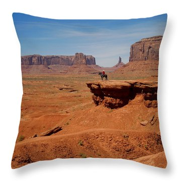 Horse And Rider In Monument Valley Throw Pillow