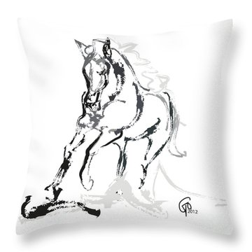 Horse- Andalusian Angel Throw Pillow by Go Van Kampen