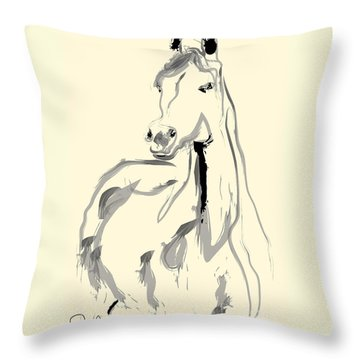Horse - Arab Throw Pillow by Go Van Kampen