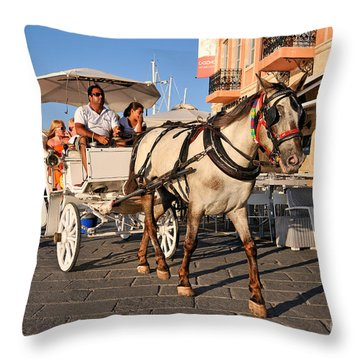 Horse Carriage At The Old Port Of Chania Throw Pillow by George Atsametakis