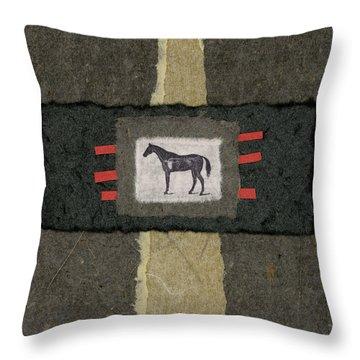 Horse Collage Throw Pillow