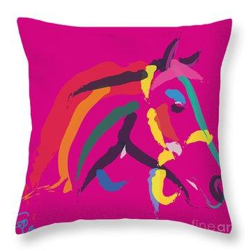 Horse - Colour Me Strong Throw Pillow