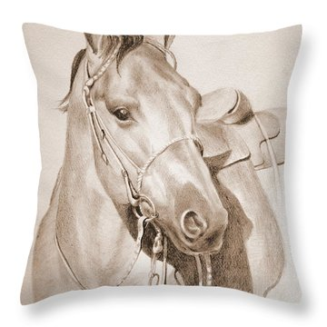 Horse Drawing Throw Pillow by Eleonora Perlic