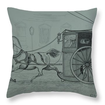 Horse Drawn Cab 1846 Throw Pillow