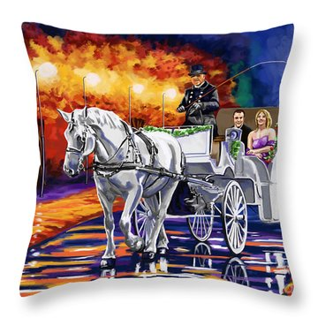 Horse Drawn Carriage Night Throw Pillow by Tim Gilliland