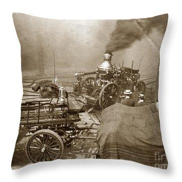 Horse Drawn Water Steam Pumper Fire Truck Circa 1906 Throw Pillow