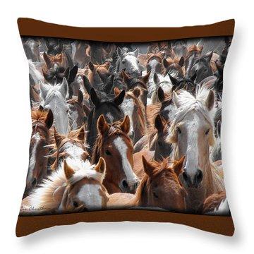 Horse Faces Throw Pillow