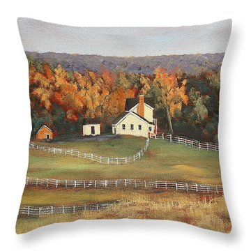 Horse Farm Throw Pillow by Alan Mager
