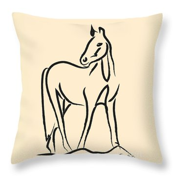 Throw Pillow featuring the painting Horse - Grace by Go Van Kampen