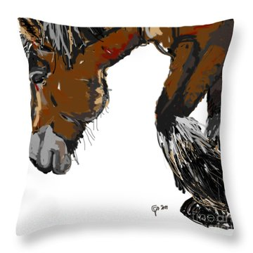 Throw Pillow featuring the painting horse - Guus by Go Van Kampen